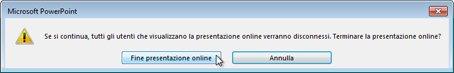 Finestra di dialogo Termina presentazione online