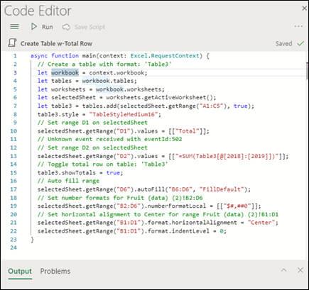Quando si seleziona uno script dall'elenco script, questo verrà visualizzato in un nuovo riquadro che mostra anche il codice TypeScript.