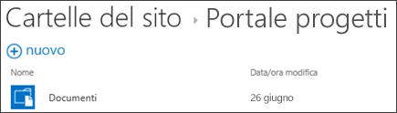 Selezionare un sito nell'elenco Cartelle siti in Office 365 per visualizzare le relative raccolte documenti.