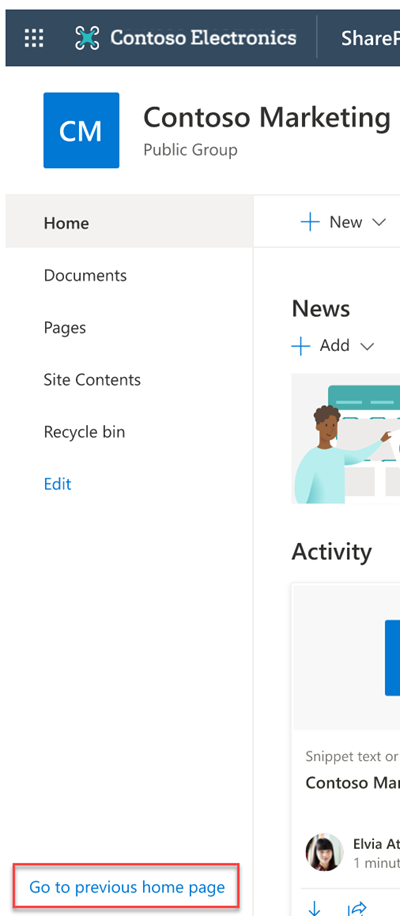 """Immagine della barra di spostamento sinistra della Home page del sito del team che evidenzia """"Vai alla pagina precedente"""""""