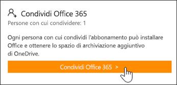 Sezione Condividi Office 365 della pagina Account personale prima della condivisione dell'abbonamento.