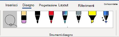 Scheda strumenti disegno della barra multifunzione di Word.