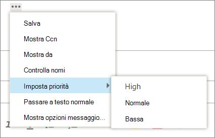 Una schermata Mostra altre opzioni disponibili per i messaggi con l'opzione per impostare la priorità evidenziata, visualizzare i valori di alta, normale e bassa.