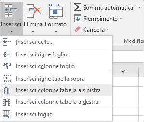 Per aggiungere una colonna di tabella nella scheda Home, fare clic sulla freccia per Inserisci > Inserisci colonne tabella a sinistra.