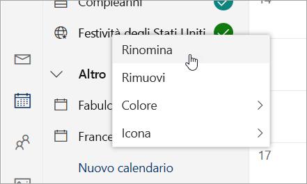 Schermata del menu di scelta rapida del calendario