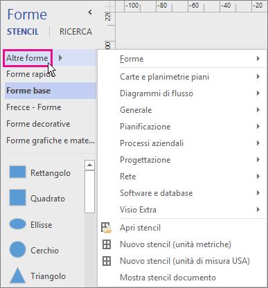 Fare clic su Altre forme per visualizzare un menu di categorie.