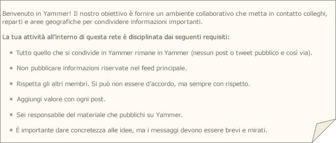 Esempio di condizioni d'uso di Yammer