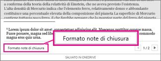 Pulsante Formato note a piè di pagina nell'area di modifica piè di pagina di Word Online