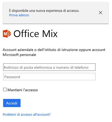Viene chiesto di accedere con l'account Office 365.