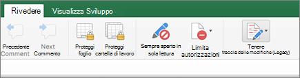 Opzione revisioni (legacy) sulla barra multifunzione