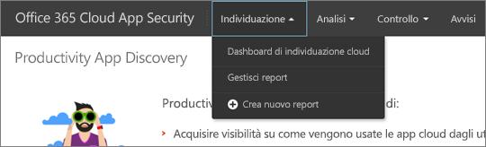 Nel portale di Office 365 CA scegliere Discover