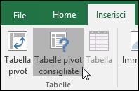 Passare a Inserisci > Tabelle pivot consigliate per fare in modo che Excel crei una tabella pivot