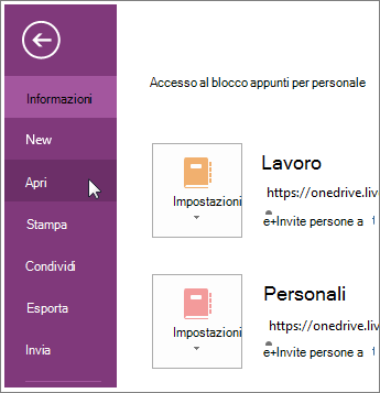 Aprire un blocco appunti dal menu File