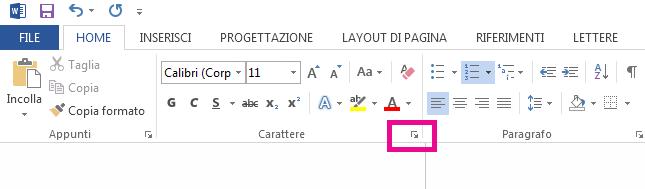 Fare clic sulla freccia per aprire la finestra di dialogo Opzioni carattere.