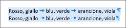 Esempio di testo di origine pronto per essere convertito in tabella