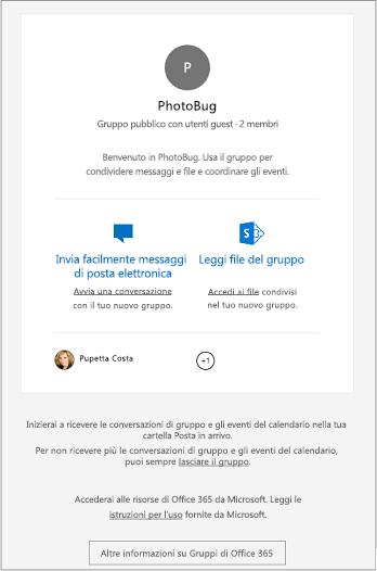Gli utenti guest ricevono un messaggio di posta elettronica di benvenuto