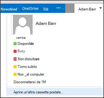 Menu Apri un'altra cassetta postale di Outlook Web App