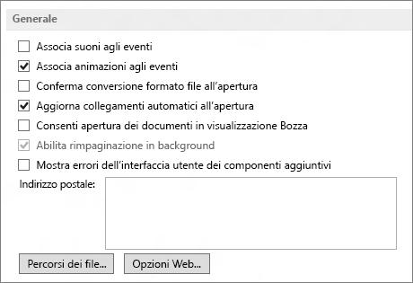 Opzioni generali di Word 2013