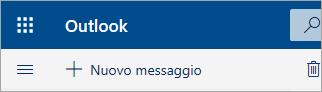 Screenshot dell'angolo in alto a sinistra della cassetta postale in versione beta di Outlook.com