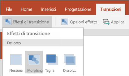 Transizioni > Effetto transizione > Morphing in PowerPoint per Android