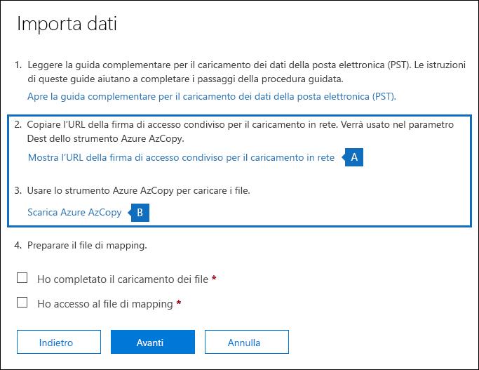 Copiare l'URL SA e scaricare lo strumento di Azure AzCopy nella pagina Importa dati