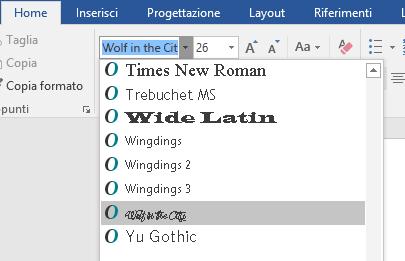 Il nuovo tipo di carattere viene ora visualizzato nell'elenco di caratteri di Word.