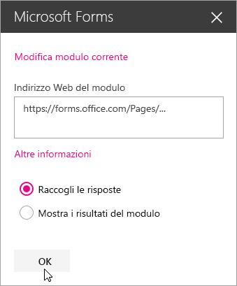 Una volta creato, il riquadro della web part Microsoft Forms visualizza l'indirizzo Web del modulo.