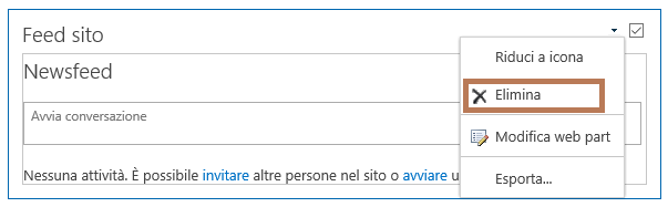 Eliminare una web part