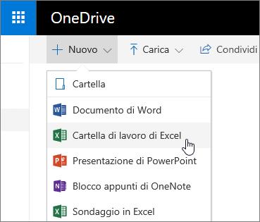 Menu Nuovo di OneDrive, comando Cartella di lavoro di Excel