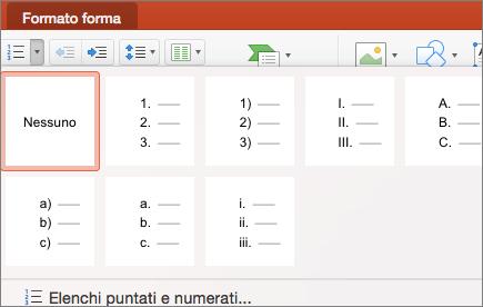 Screenshot degli stili di numerazione disponibili quando si seleziona la freccia sul pulsante Elenchi numerati