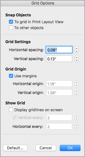 Opzioni della griglia