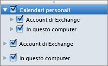 Gruppo Calendari personali in Outlook 2016 per Mac
