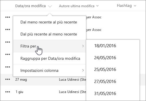Menu di ordinamento colonne e filtro visualizzazioni