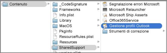 Visualizzare il contenuto del pacchetto per Outlook