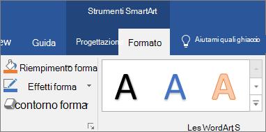 Fare clic su forma compilare o effetti forma