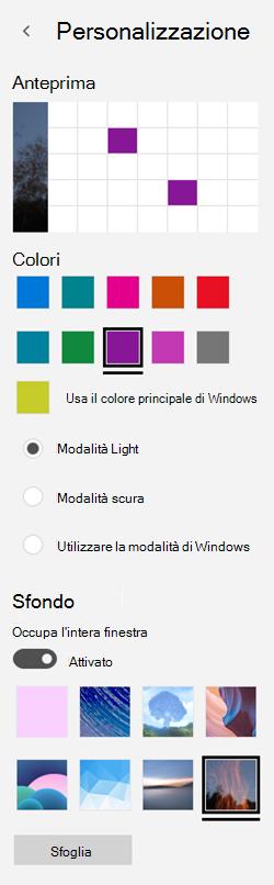 Scegliere un'immagine di sfondo e colori personalizzati per le app