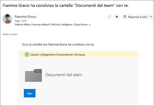 Inviare tramite posta elettronica con il collegamento per condividere la cartella OneDrive