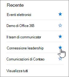 Fare clic sulla stella in un sito nella barra di spostamento a sinistra