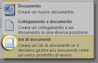 Menu Nuovo documento con l'icona del set di documenti evidenziata