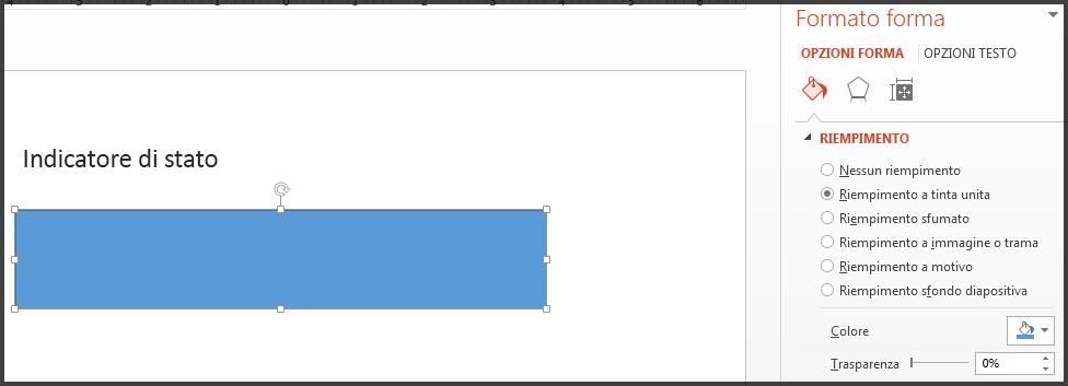 Indicatore di stato con riempimento blu.