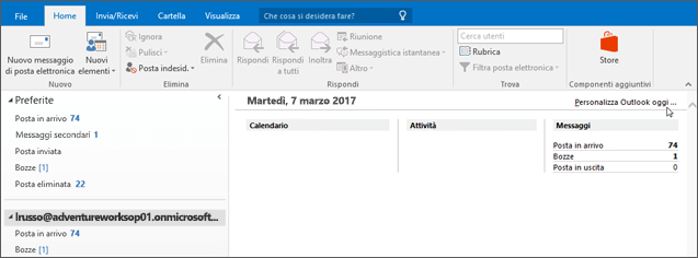 Schermata della visualizzazione Outlook oggi in Outlook, che mostra il nome del proprietario della cassetta postale, il giorno corrente e data e associato calendario, attività e messaggi per il giorno.