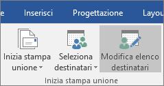 Nella procedura di stampa unione di Word scegliere Modifica elenco destinatari nel gruppo Inizia stampa unione della scheda Lettere.
