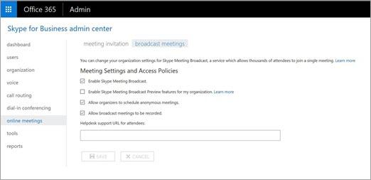 Interfaccia di amministrazione di Skype for Business