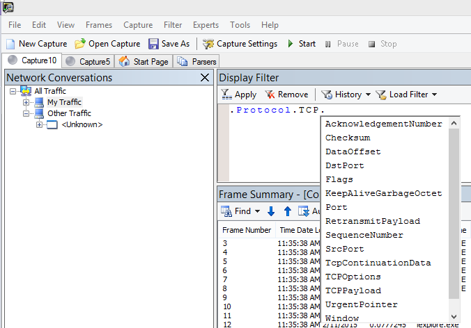 Schermata di Netmon che mostra che il campo Display Filter usa Intellisense.