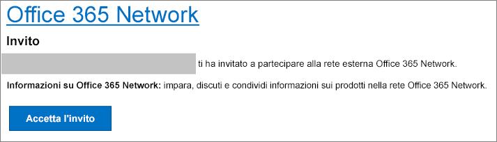 Accettazione dell'invito a partecipare a una rete esterna