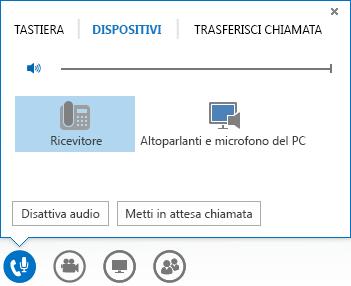 Schermata delle opzioni audio