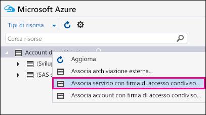 Fare clic con il pulsante destro del mouse su Account di archiviazione e quindi scegliere Connetti a servizio di archiviazione di Azure