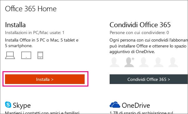 Pulsante Installa nella pagina Account personale di Office 365