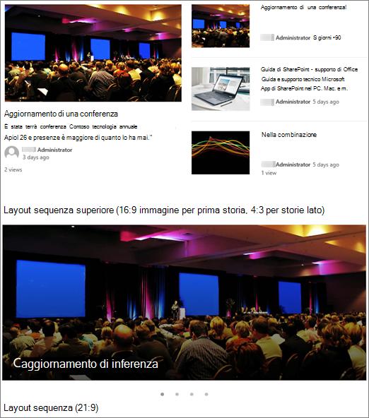 Esempi di immagini di layout di notizie