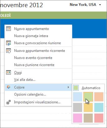 Fare clic con il pulsante destro del mouse sul calendario e quindi scegliere Colore